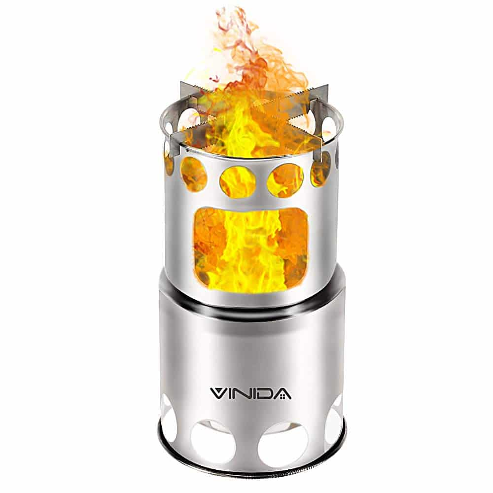 VINIDA Camping Stove Backpacking Stove Survival Stove - Portable Lightweight Wood Burning Stove with Nylon Carry Bag for Hiking Climbing Fishing Picnic BBQ
