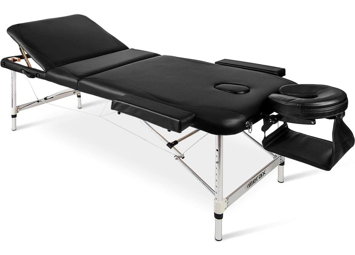 "Merax Aluminium Frame Massage Table 84"" 3 Section Portable Salon Spa Table"