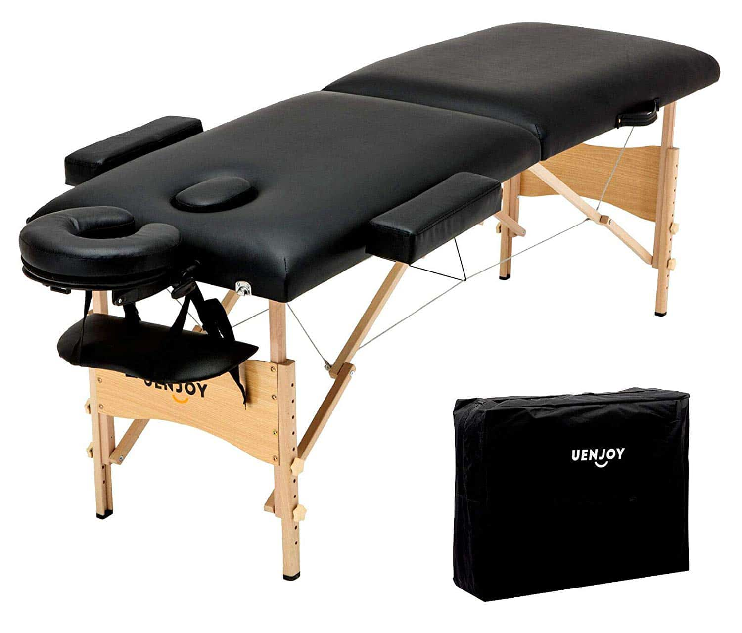 Uenjoy Folding Massage Table 84'' Professional Massage Bed 2 Fold Lash Bed with Head-& Armrest