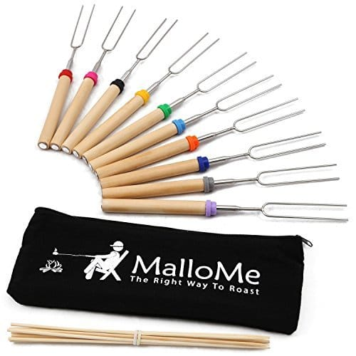 MalloMe Marshmallow Roasting Smores Sticks & Hot Dog Fork 32 Inch- Kids Camping Accessories for Campfire Fire Pit Cooking -Free Storage Bag, 10 Bamboo Skewers, Ebook