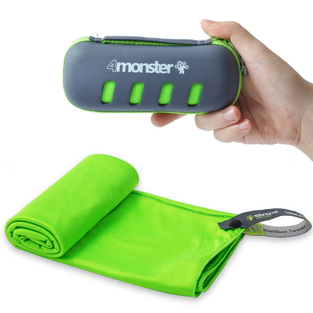"""4MONSTER Microfiber Towel, Travel Towel, Camping Towel,Medium Size 24 x 48"""", Fast Drying, Soft Light Weight,Suitable for Gym, Beach, Swimming, Backpacking and More"""