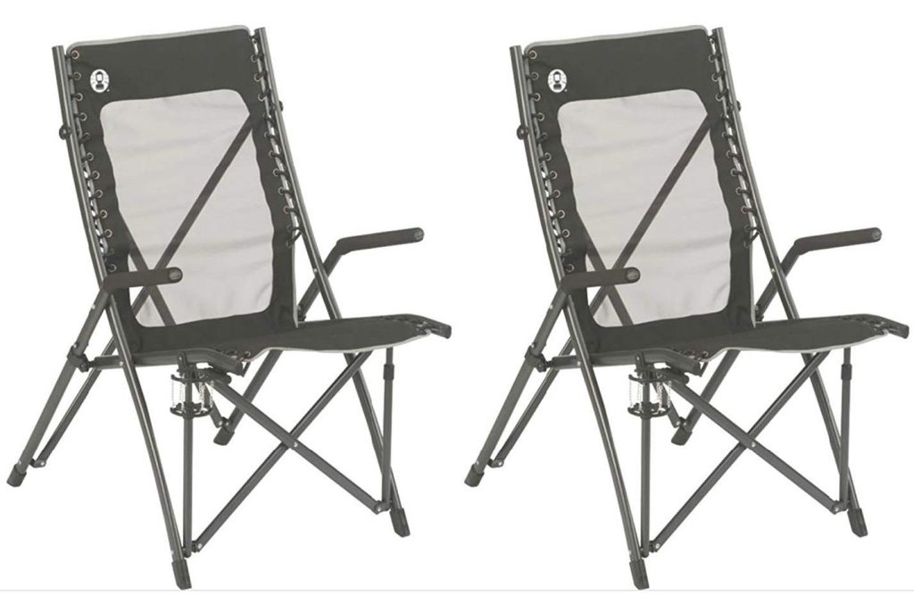 (2) COLEMAN ComfortSmart Suspension Camping Folding Chairs With Mesh Back & Bag