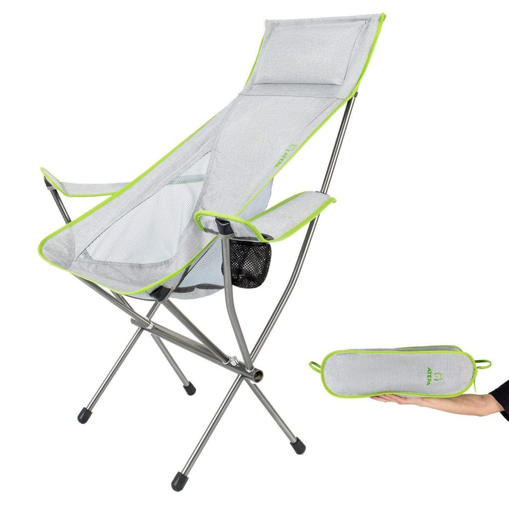 ATEPA Ultralight Folding Camping Chair(4.3lbs), Lightweight Portable Compact Outdoor Backpacking Chairs with Headrest Pillow, Armrest, Cup Holder, Carry Bag, Supports Up to 300lbs