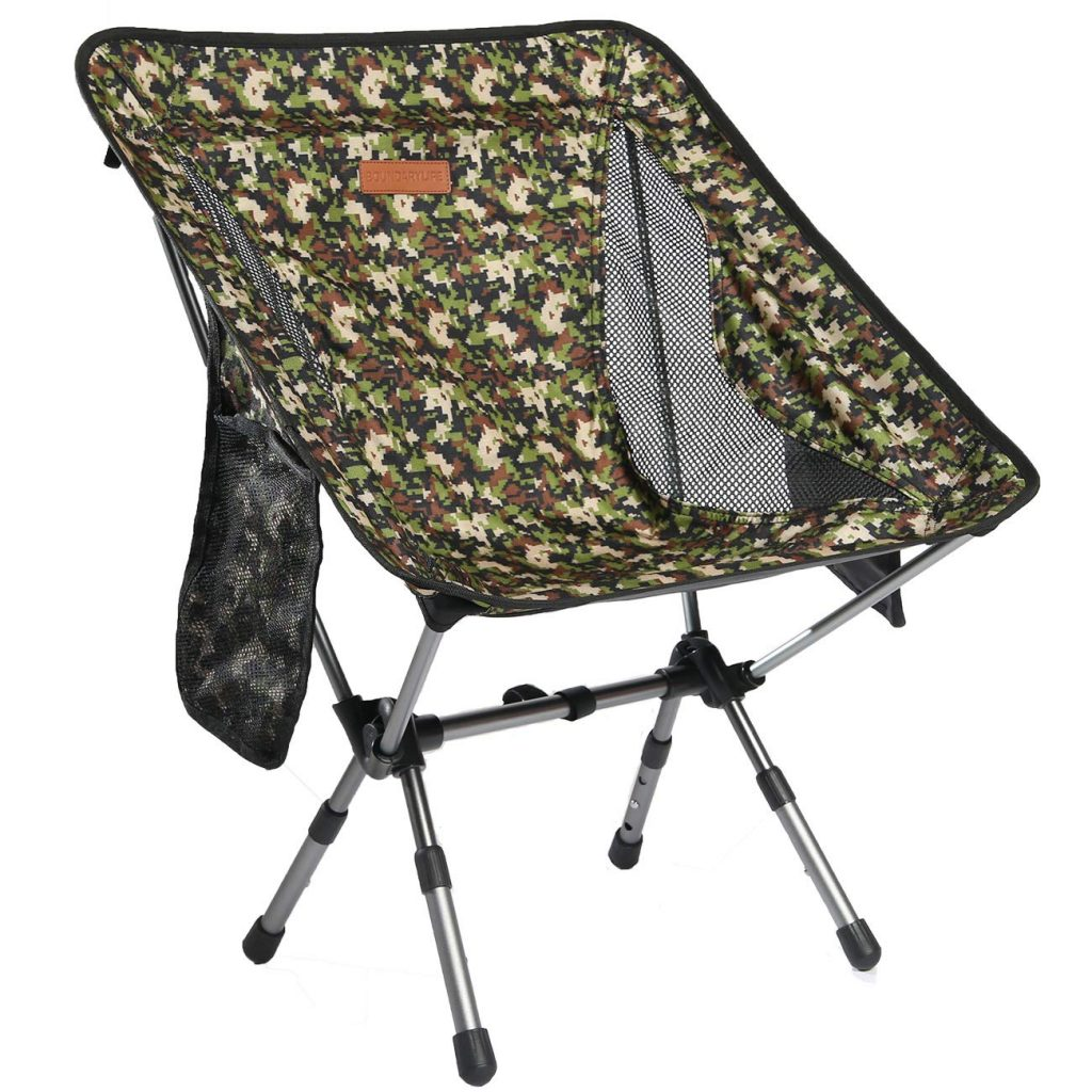 Boundary Life Portable Folding Chair for Camping, Backpacking and Hiking - Compact and Lightweight Chairs fit in a Backpack Great for Hunting Fishing Picnic or The Beach - Camo Outdoor Seat