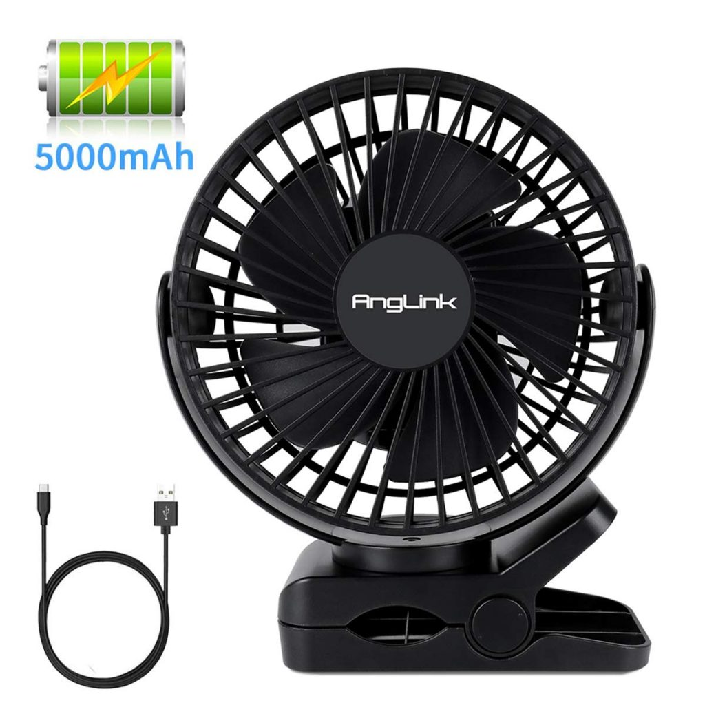 Clip on Fan, 5000mAh Large Battery Powered Fan USB Rechargeable for Baby Stroller Home Office Camping Outdoors