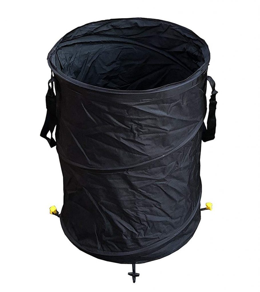 Durable Large Camping Trash Garden Bin With Ground Stakes
