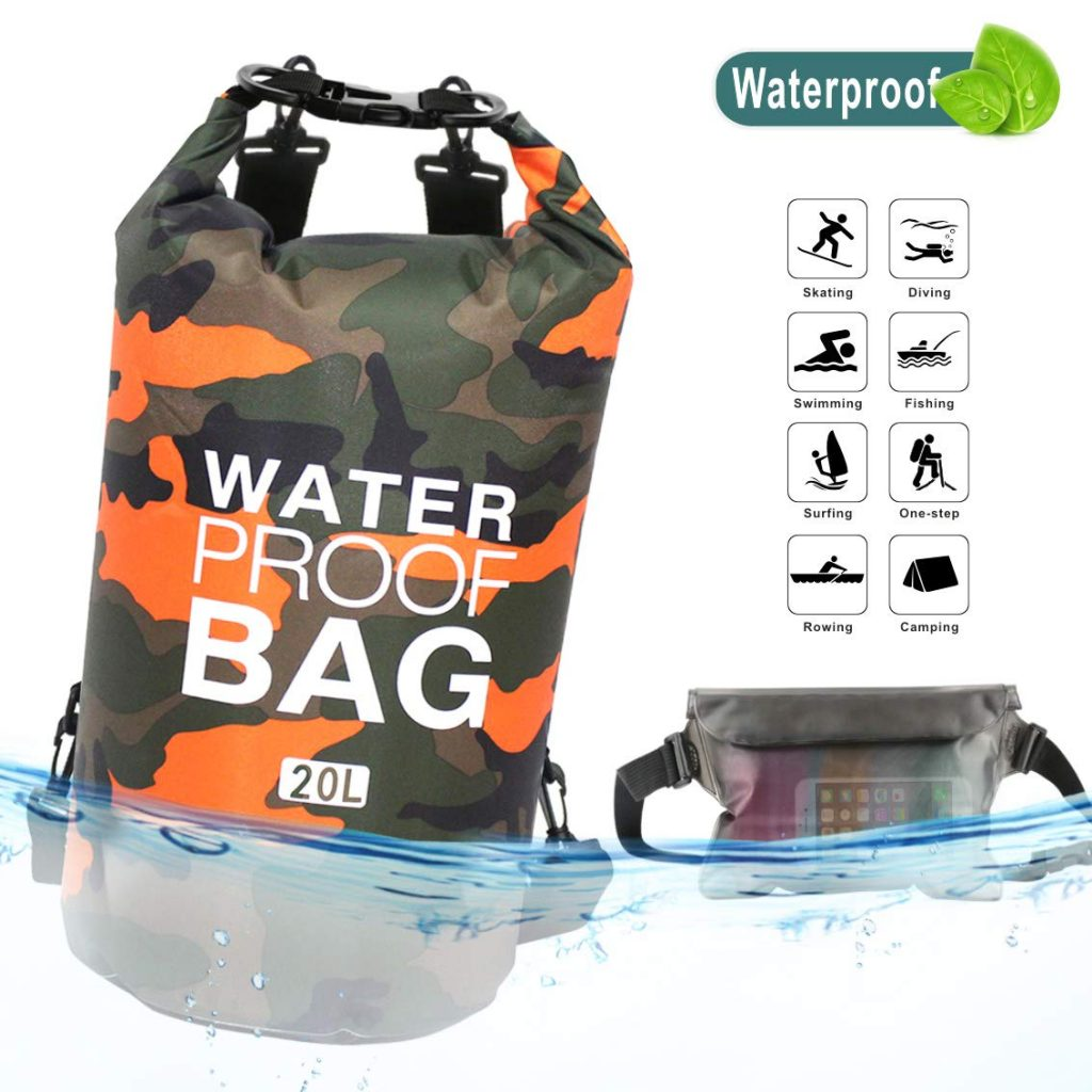 Idefair Waterproof Dry Bag 10L 20L, Floating Backpack with Waist Pouch, Lightweight Roll Top Dry Compression Sack for Water Sports, Boating, Fishing, Kayaking, Swimming, Rafting, Camping