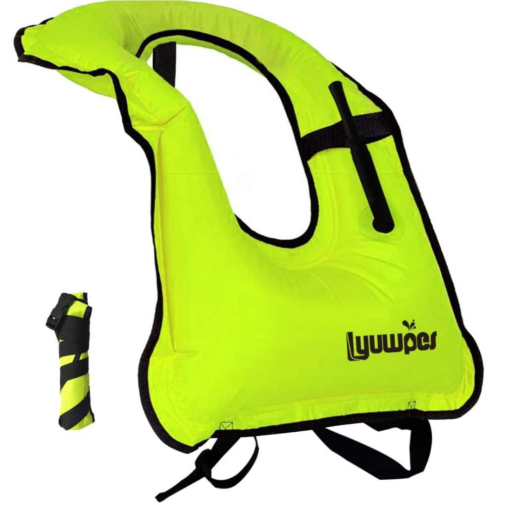 Lyuwpes Inflatable Snorkel Vest Adult Snorkeling Jackets Free Diving Swimming Safety Load Up to 220 Ibs Green