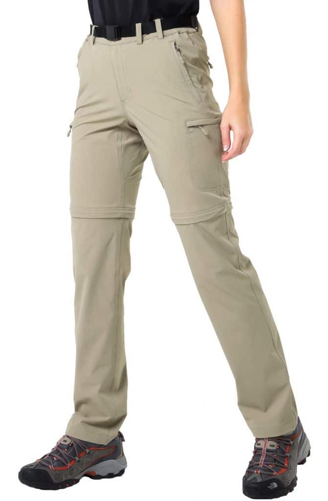 MIER Women's Water Resistant Convertible Cargo Pants Quick Dry Zip Off Hiking Pants, Lightweight and Stretch, 6 Pockets, Rock Grey, XXL