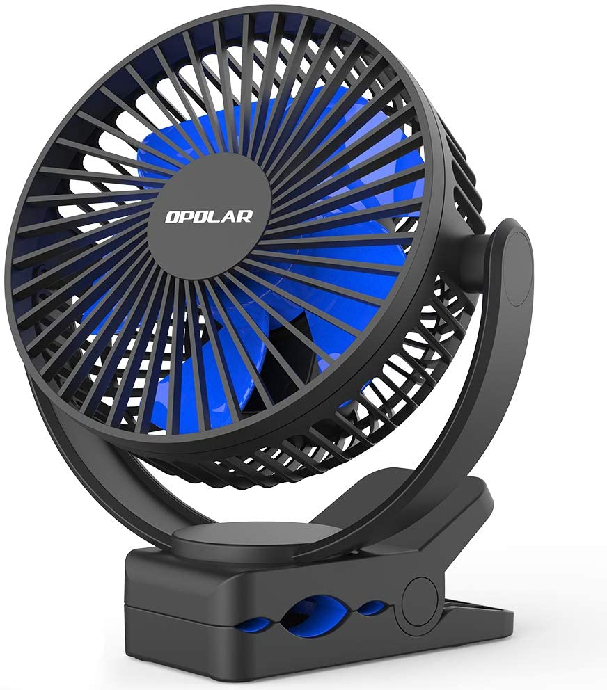 OPOLAR 2020 New 5000mAh Rechargeable Battery Operated Clip On Fan, Upgrade Quieter & Stronger Wind, 10W Fast Charge, Strong Clamp Personal Portable Fan for Golf Cart, Office Desk, Stroller, Treadmill