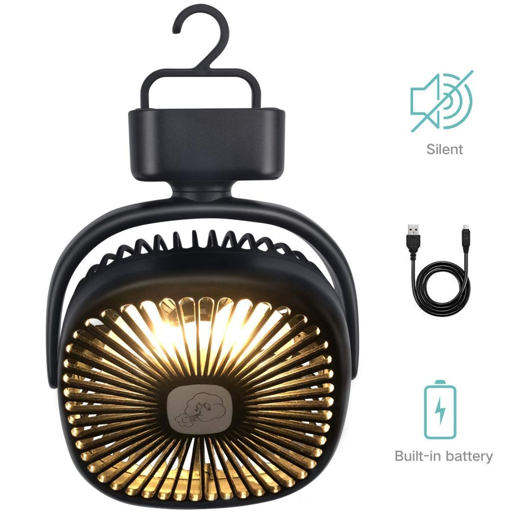REENUO Portable Camping Fan with LED Lights,Rechargeable 4400mAh Battery Powered Tent Fan (Max Working Time 40 Hours) Mini Desk Fan for Camping, Hiking, Outdoor,Home and Office