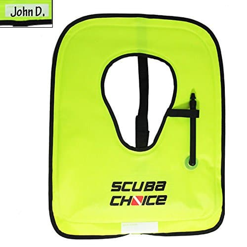 Scuba Choice Adult Neon Yellow Snorkel Vest with Name Box, X-Large
