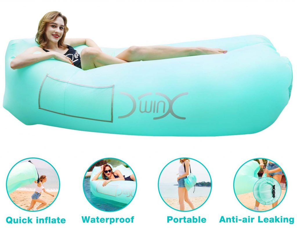 YXwin Inflatable Lounger Air Sofa Hammock, 440lb Anti-Leak Waterproof Portable Beach Chair Pouch Couch Bed with Inflatable Pillow