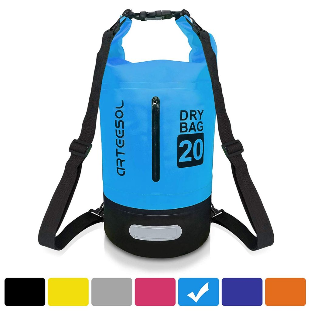 arteesol Waterproof Dry Bag, 5L 10L 20L 30L Backpack Dry Sack with Waist Strap for Beach Swim Kayaking Hiking - Protect Camera Cash Document from Water and Dirt