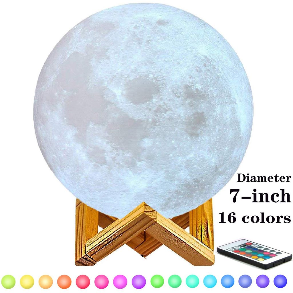 7-inch Moon Lamp Moon Light (6in-11in), 3D Printing Moon Lamp with Stand, Touch Control and Remote Control with LED 16 Colors.