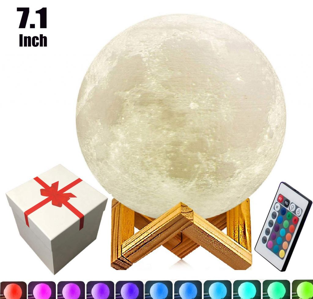 7.1 inch Full Moon Lamp,3D Moon Lamp, 100% 3D Printing LED 16 Colors Moon Lamp, Touch& Remote Control Decorative Moon Light.
