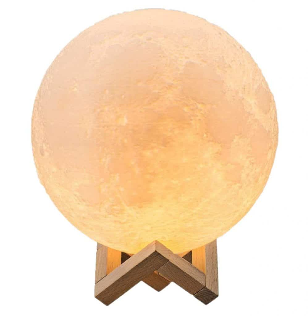 Gahaya 【Seamless】 Moon Lamp, Touch Control, Unibody Forming 3D Printed, Dimmable, Warm White & Cool White, PLA material, USB Recharge