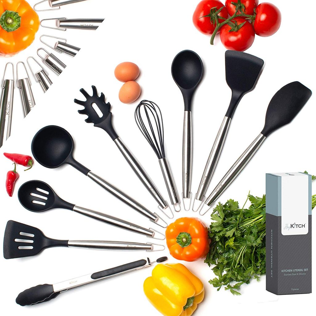 HeyKITCH Kitchen Utensil Set - 9 Piece Black Utensil Set - Stainless Steel & Silicone Utensil Set