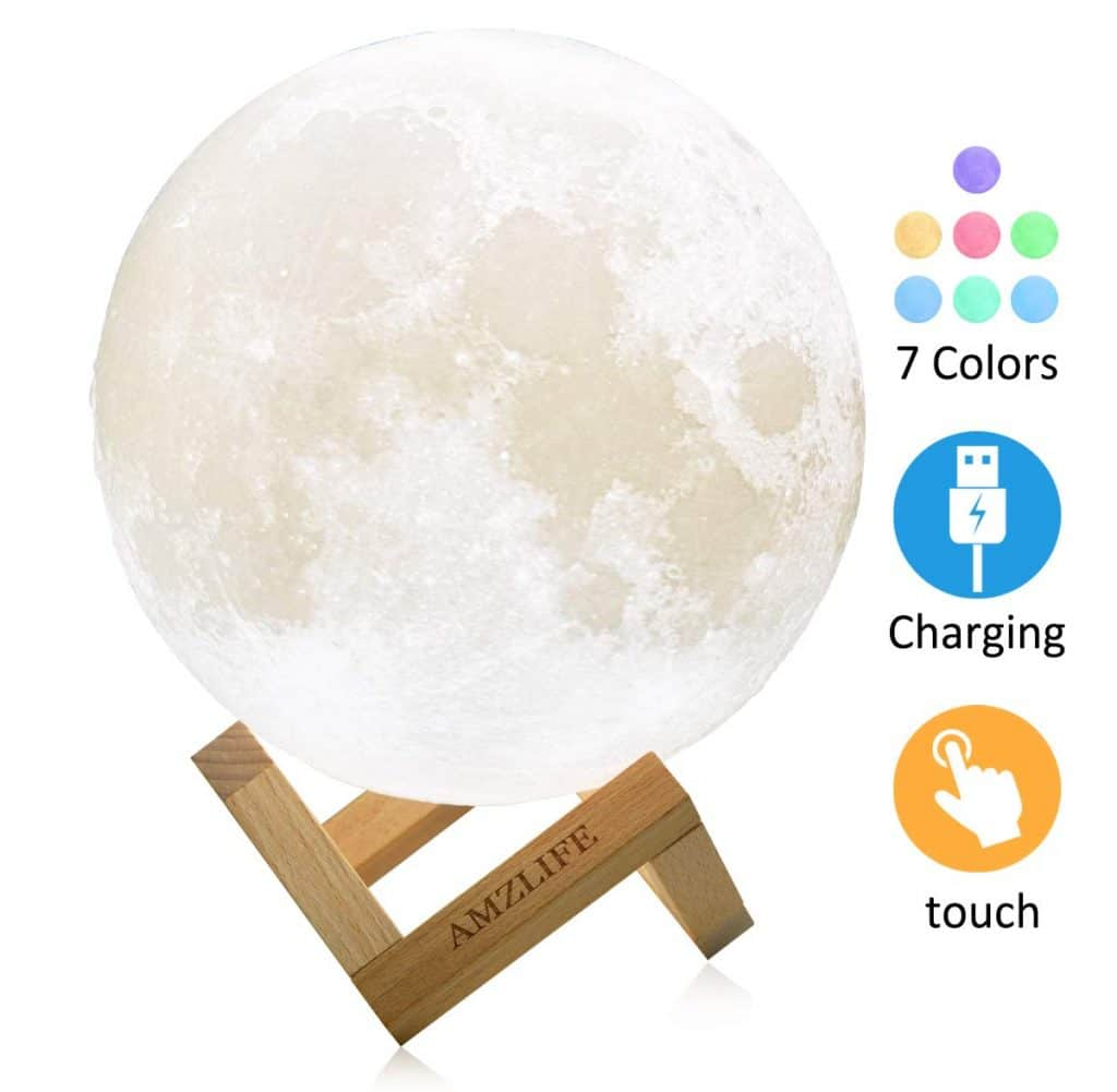 Moon Lamp,AMZLIFE Moon Light 5.9 Inch LED 3D Printing Night Light with Stand Gift for Kids Women Touch Control USB Rechargeavle Warm and Cool White Decor Lunar Lamp for Home Office