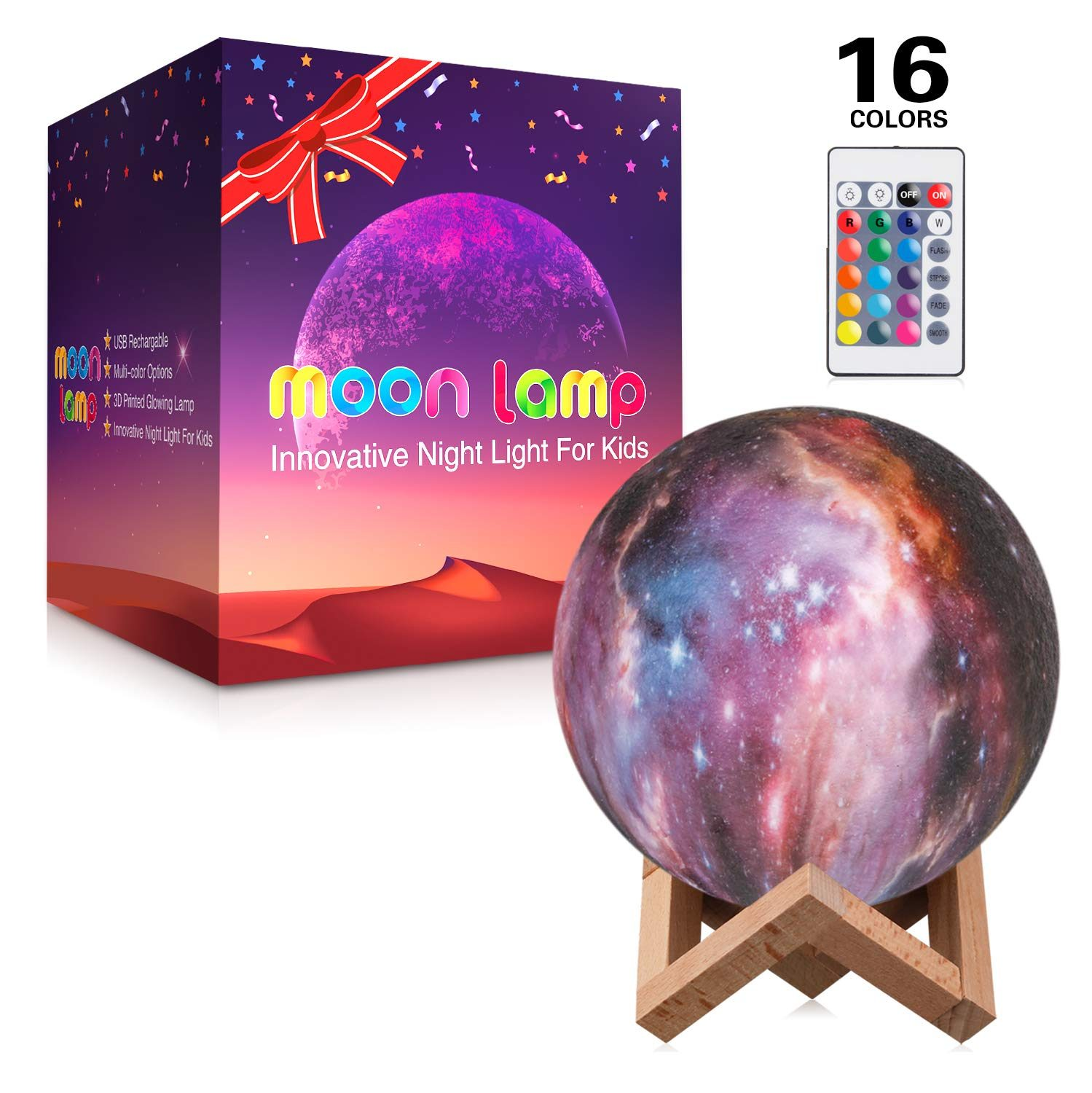 5.9 inch Purple Moon Lamp Friend Birthday Party Gifts 3D Printed 16 Colors LED Moon Light Lamp with Stand /& Remote /& Touch Control /& USB Rechargeable Decorative Glowing Moon Night Light for Kids