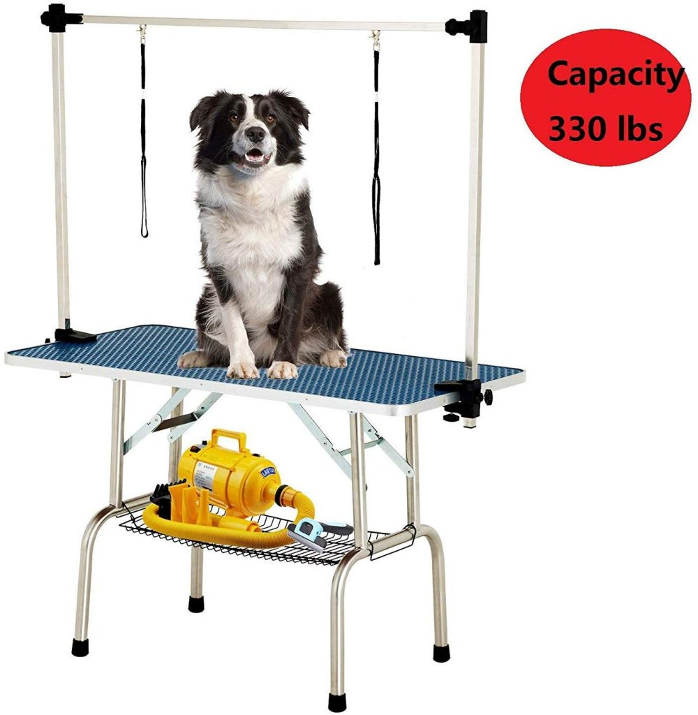 48 Inch Large Portable Pet Dog Grooming Table Upgraded Professional Foldable Drying Trimming Table, Heavy Duty Stainless Steel Frame