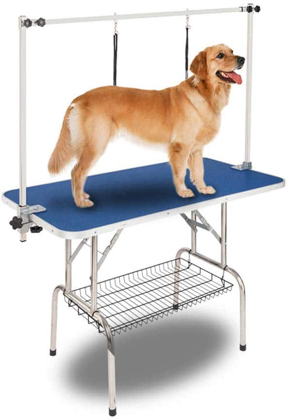 Bonnlo Upgraded Pet Grooming Table, 45in x 24in Portable Dog Grooming Table with Arm Noose & Mesh Tray, Adjustable Folable Pet Groom Table Stand for Dog Cat