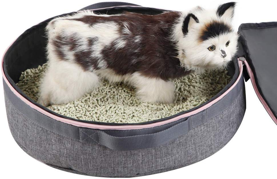 Petsfit 3.9H x 15.3'W x 15.3L Portable Travel Cat Litter Pan Foldable, Light Weight and Easy Cleaning