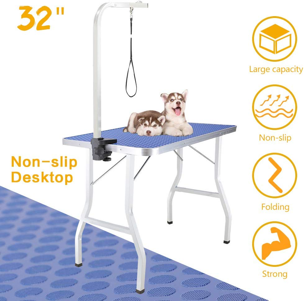 Royale Foldable Pet Dog Grooming Table, 32in Portable Durable Drying Table with Non-Slip Table Top, Adjustable Height Arm&Noose for Dog or Cat (Mesh Tray)