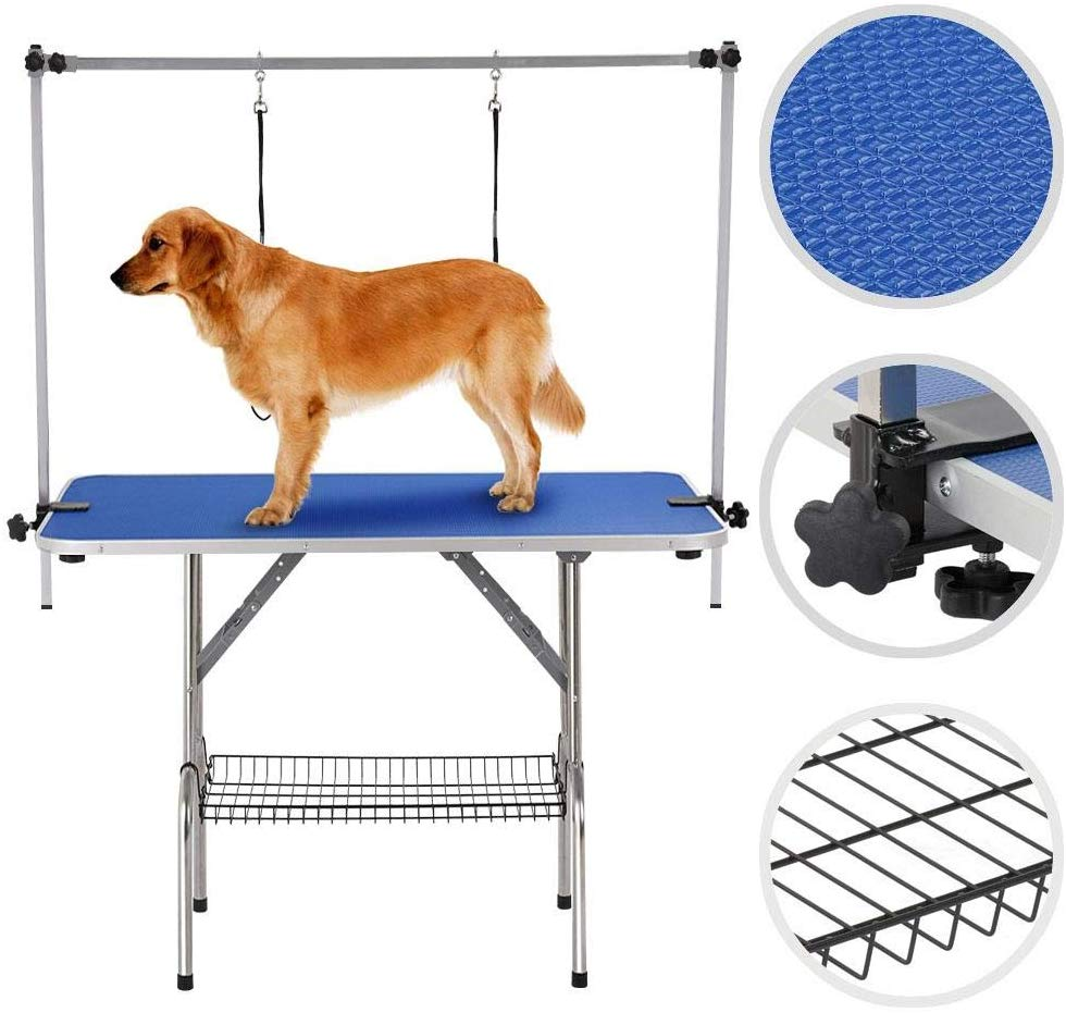 Yaheetech Pet Grooming Table for Large Dogs Adjustable Height - Portable Trimming Table Drying Table