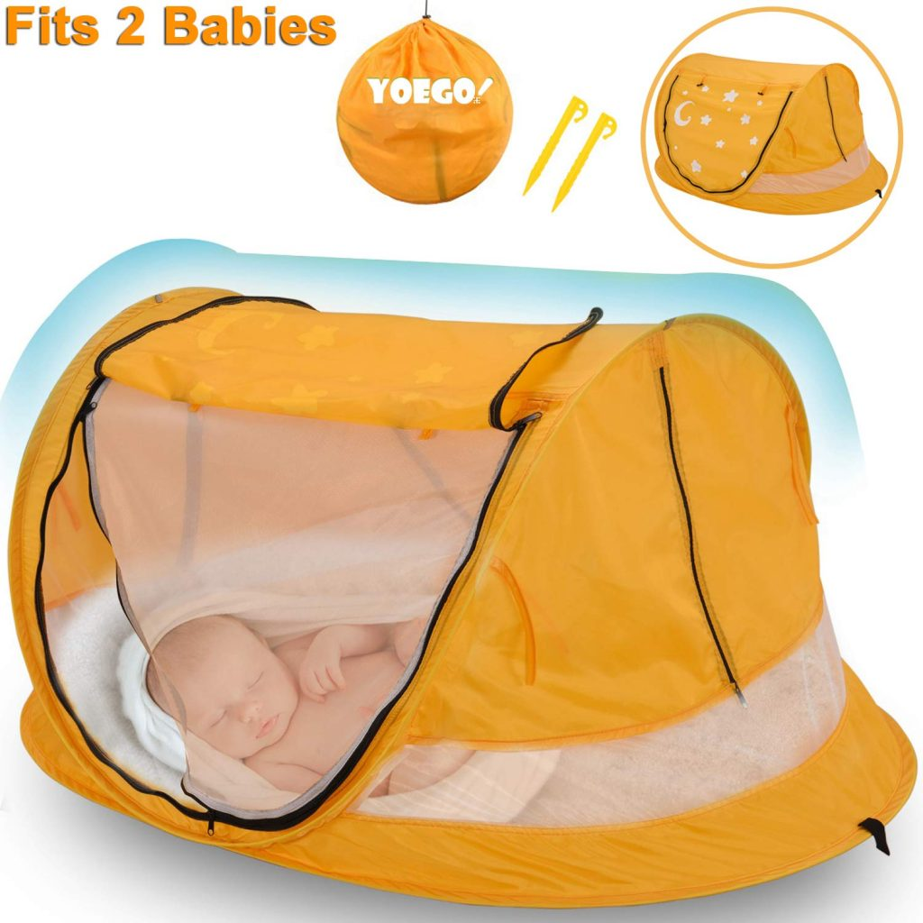 Baby Beach Tent, Yoego Large(53'x35'x23') Portable Baby Pop-Up Travel Tent, UPF 50+ Sun Shelters Shade, Baby Travel Crib with Mosquito Net