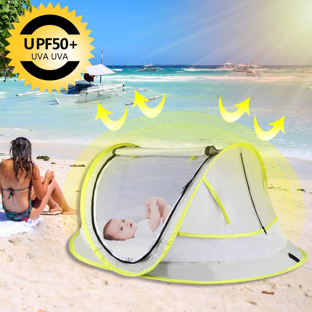 Baby Tent, Baby Beach Tent, Pop Up Portable UV Protection Sun Shelter for Infant Mosquito Net Sunshade, Lightweight Outdoor Travel Baby Crib Bed- with Carrying Bag and 2 Pegs
