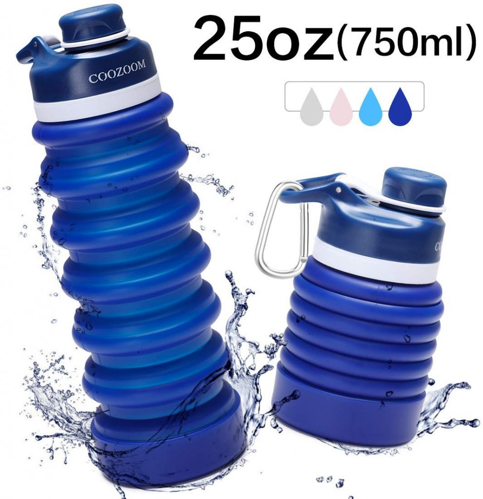 COOZOOM 750ml/25oz Collapsible Water Bottle - BPA Free Silicone Foldable Portable Leakproof Water Bottle for Travel Camping Hiking Sports Outdoor and Gym