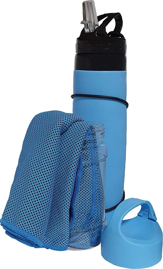 Campfire Products Collapsible Water Bottle and Bonus Cooling Towel Ideal refillable Water Bottles for Travel, Hiking, Camping, Sport, BPA Free Leak-Proof Silicone