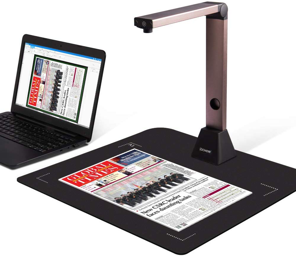 Document Camera iOCHOW S1, High Definition Portable Scanner, Capture Size A3, Multi-Language OCR, English Article Recognition, USB, SDK & Twain for Office and Education Presentation