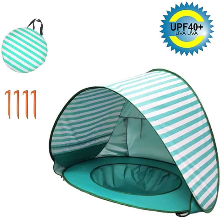 Echo Paths Beach Tent UPF40+ Pop Up Sun Shelter for Toddlers Foldable Portable Kids Play Tent with Carrying Bag Toy for Children Indoor Outdoor Games Travel Tent Green Stripe One Size