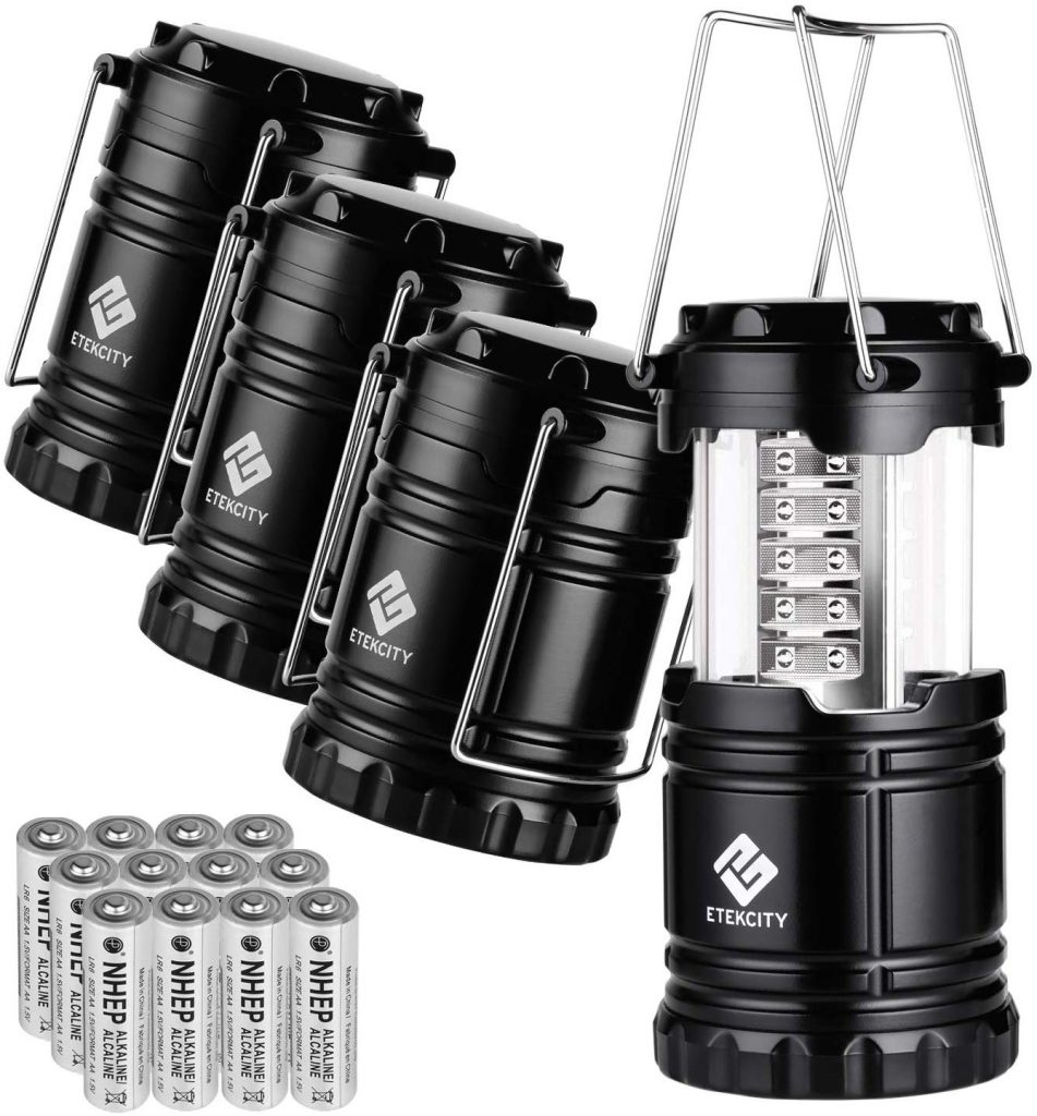 Etekcity 4 Pack LED Camping Lantern Portable Flashlight with 12 AA Batteries - Survival Kit for Emergency, Hurricane, Power Outage