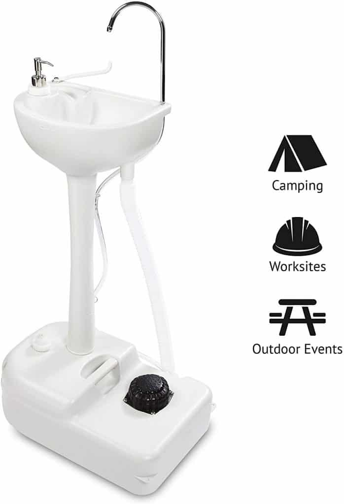 Hike Crew Portable Outdoor Foot Pump Camping Sink – Collapsible Hand Wash Basin w/ 5 Gallon (19L) Water Tank, Wheels, Soap Dispenser, Gooseneck Faucet & Towel Holder – for RV, Travel, Worksite