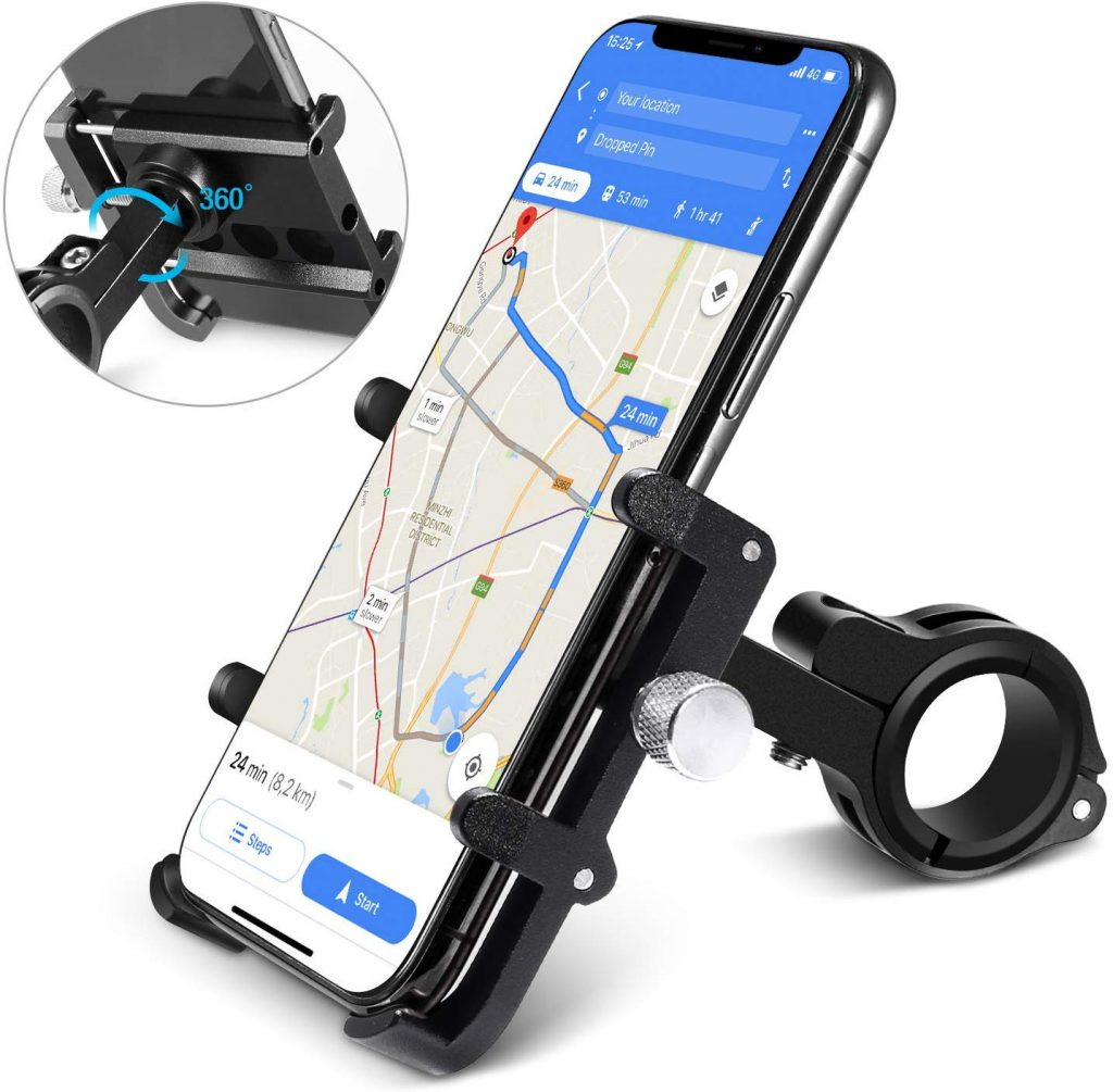 Homeasy Universal Bike Phone Mount, Bicycle Holder Handlebar Cellphone Adjustable