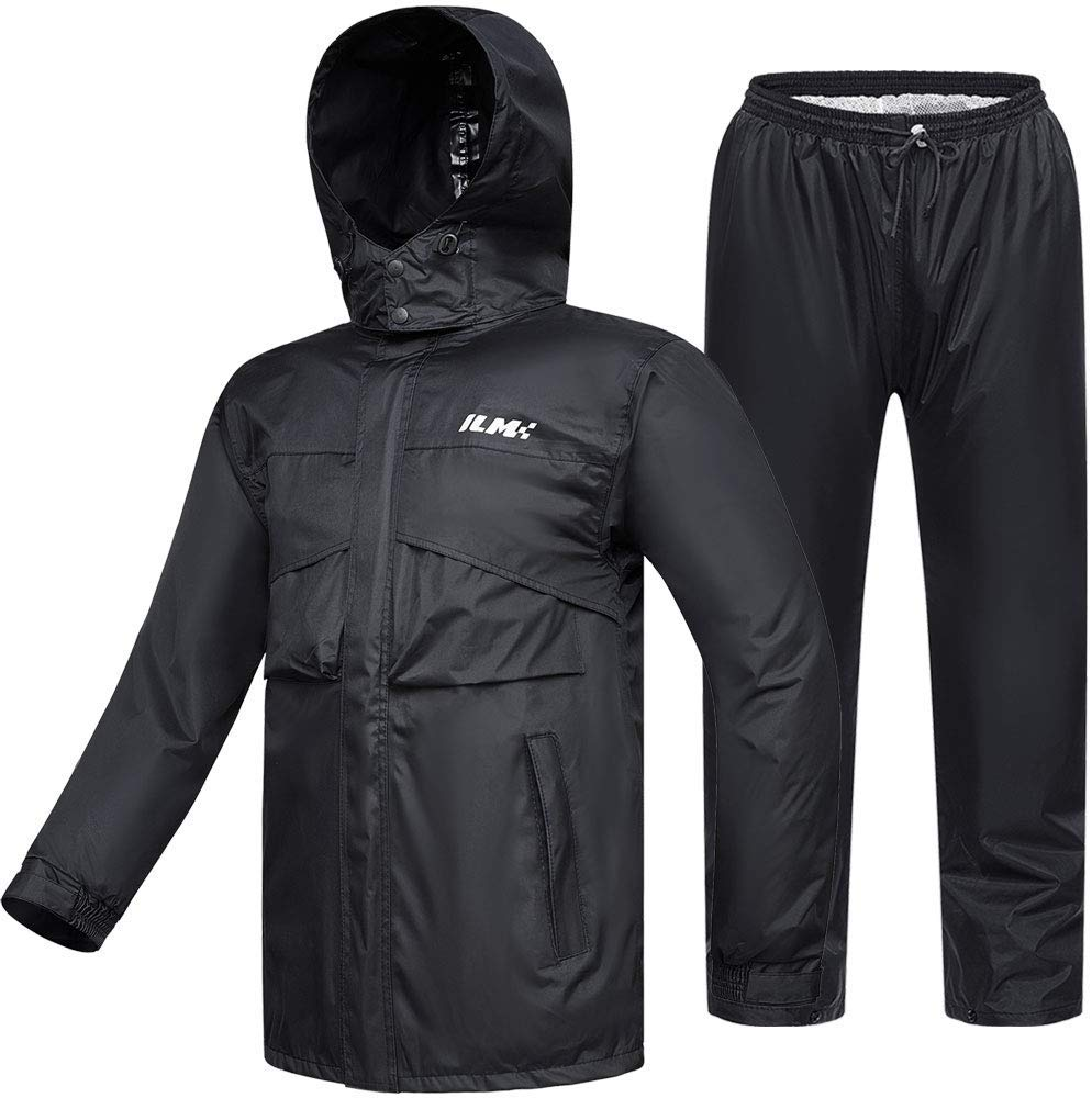 ILM Motorcycle Rain Suit Waterproof Wear Resistant 6 Pockets 2 Piece Set with Jacket and Pants Fits Men Women