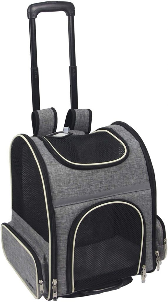 Mr. Peanut's Malibu Series Airline Approved Backpack Stroller Pet Carrier with Detachable Wheel Assembly