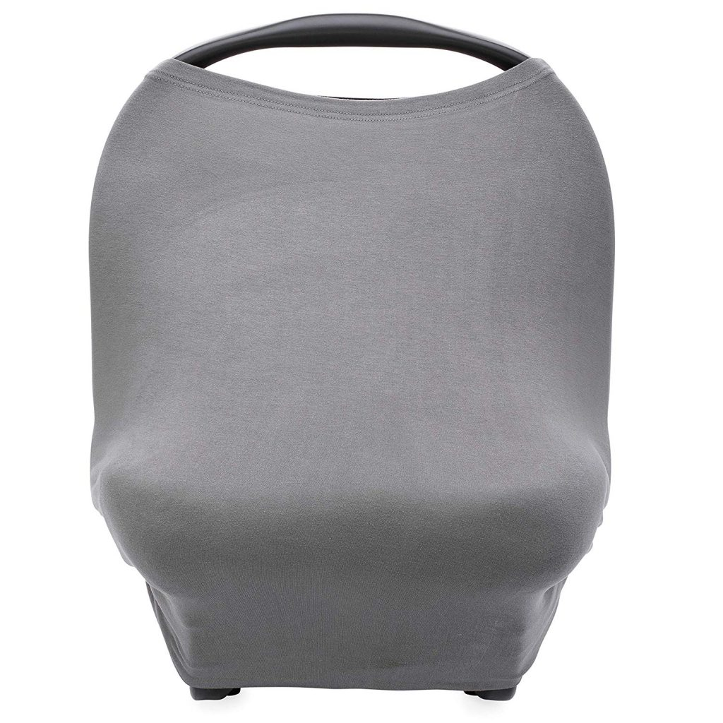 Parker Baby 4 in 1 Car Seat Cover for Girls and Boys - Stretchy Carseat Canopy, Nursing Cover, Grocery Cart Cover, High Chair Cover - Gray