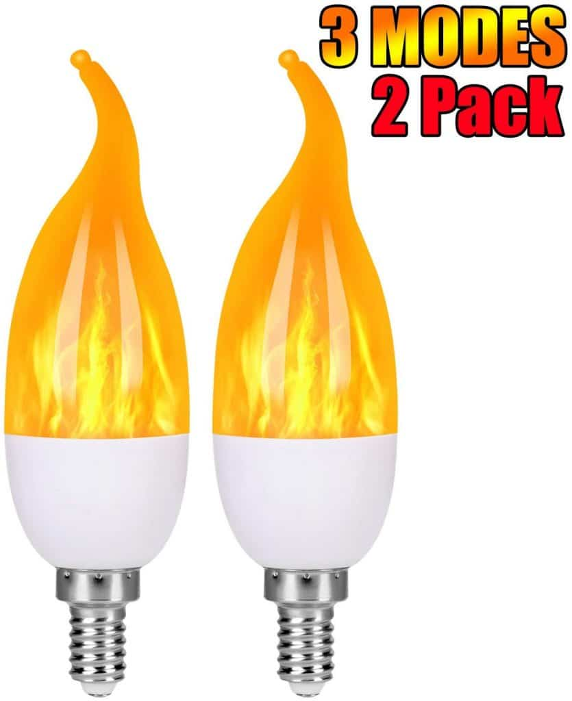 Severino - LED Flame Effect Light Bulbs - 3 Modes Flickering Flame Candelabra Light Bulbs,E12 Base Fire Bulbs