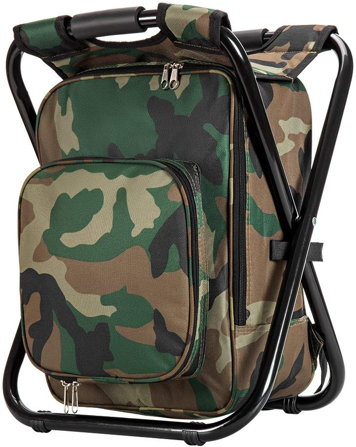 Upgraded Large Size 3 in1 Multifunction Fishing Backpack Chair, Portable Hiking Camouflage Camping Stool, Folding Cooler Insulated Picnic Bag Backpack Stool