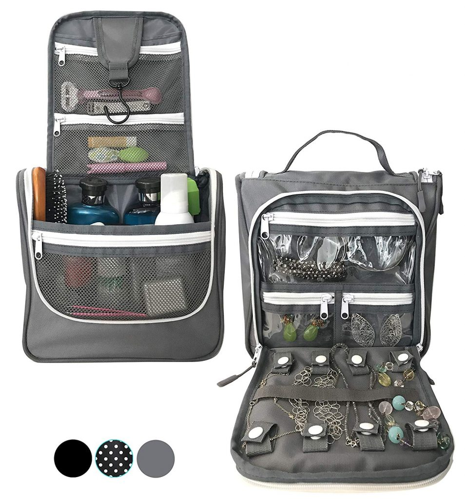 WAYFARER SUPPLY Hanging Toiletry Bag - Pack-it-flat Travel Kit, w Jewelry Organizer, Grey