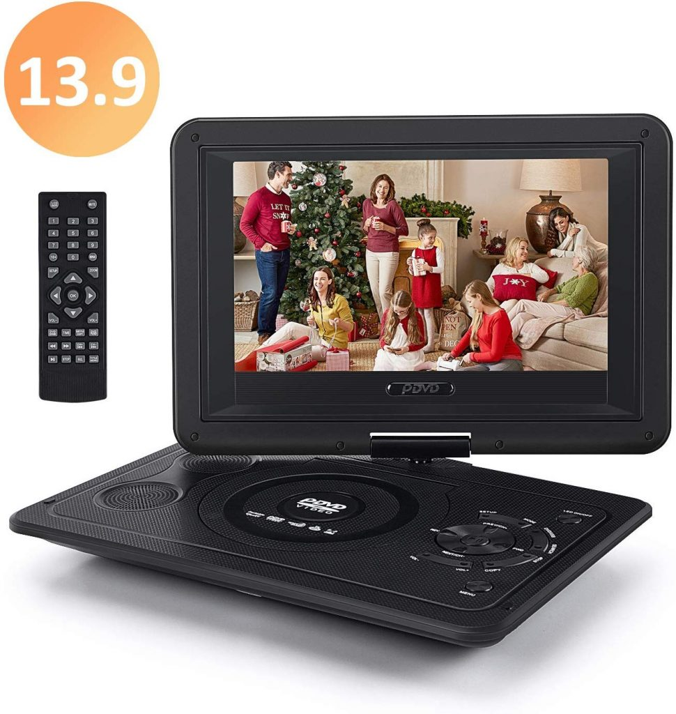Whew 13.9'' Portable DVD Player for Kid, with Swivel Screen, Remote Control, Car Charger, Game Controller, Personal DVD Players with 5 Hour Rechargeable Battery
