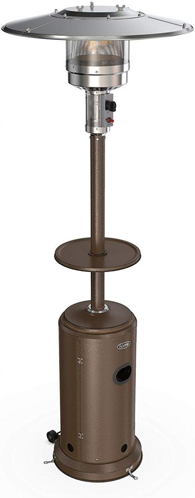 hOmeLabs Gas Patio Heater - 87 Inches Tall Standing Outdoor Heater with Drink Shelf Tabletop - Auto Shut Off Portable 41,000 BTU Power Heater with Simple Ignition System, Wheels and Base Reservoir