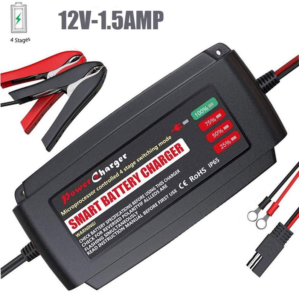 12V 5Amp Portable Smart Battery Charger, IP65 Waterproof Car Battery Charger with Alligator Clips