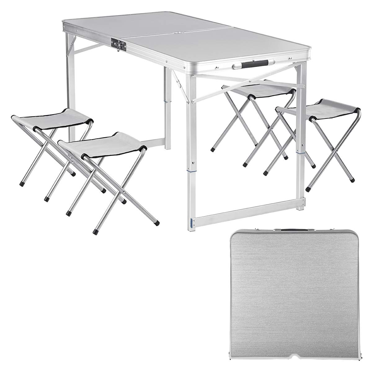 Adalantic 4-person Picnic Folding Table, Height Adjustable, Portable Aluminum Camping Table with 4 Chairs Indoor Outdoor Suitcase Table