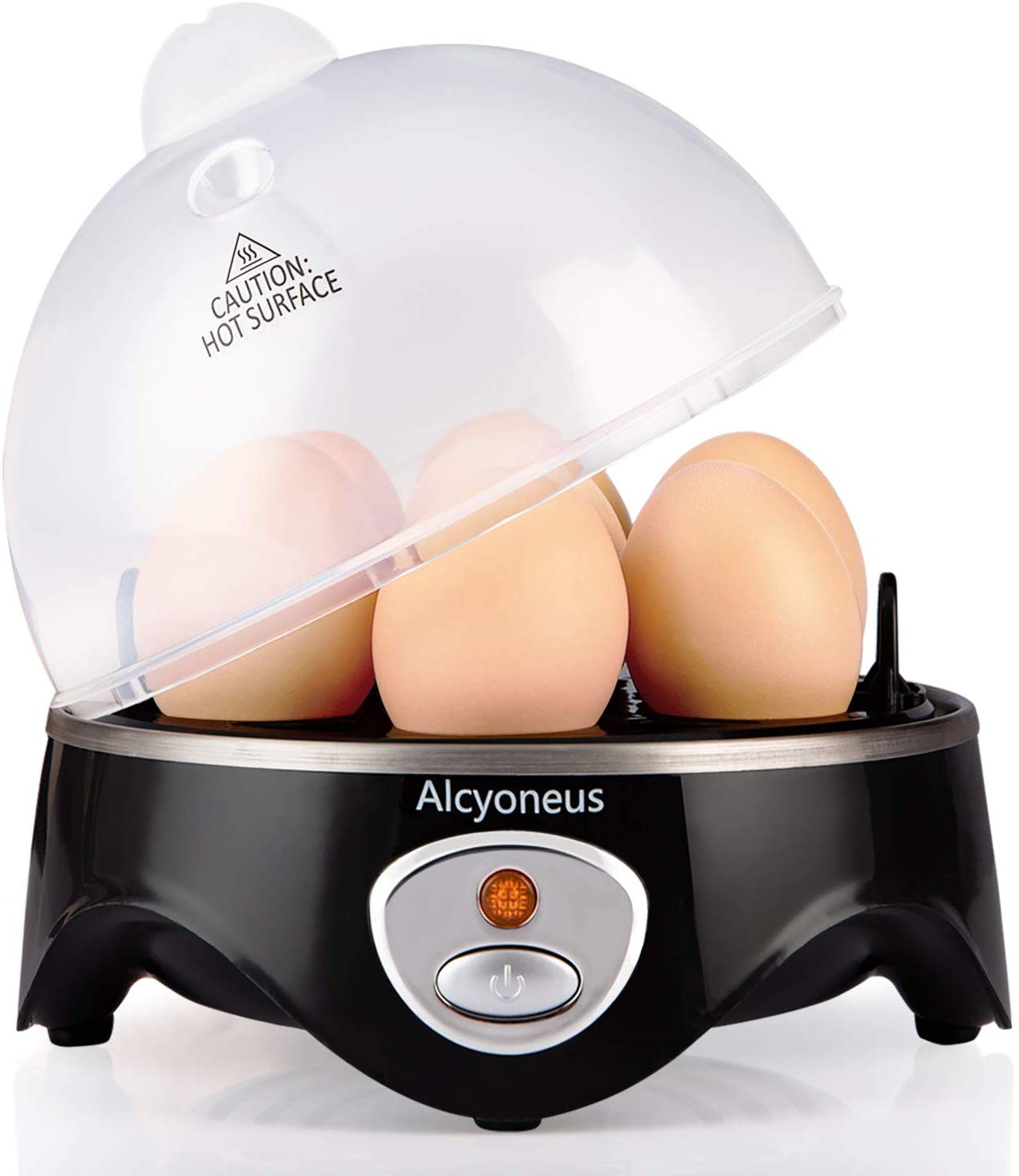 Alcyoneus Rapid Egg Cooker, Electric Egg Boiler, Noise-Free Hard Boiled Egg Cooker with Auto Shut Off & 7-Capacity, Suitable for Poached Egg, Scrambled Eggs, Omelets