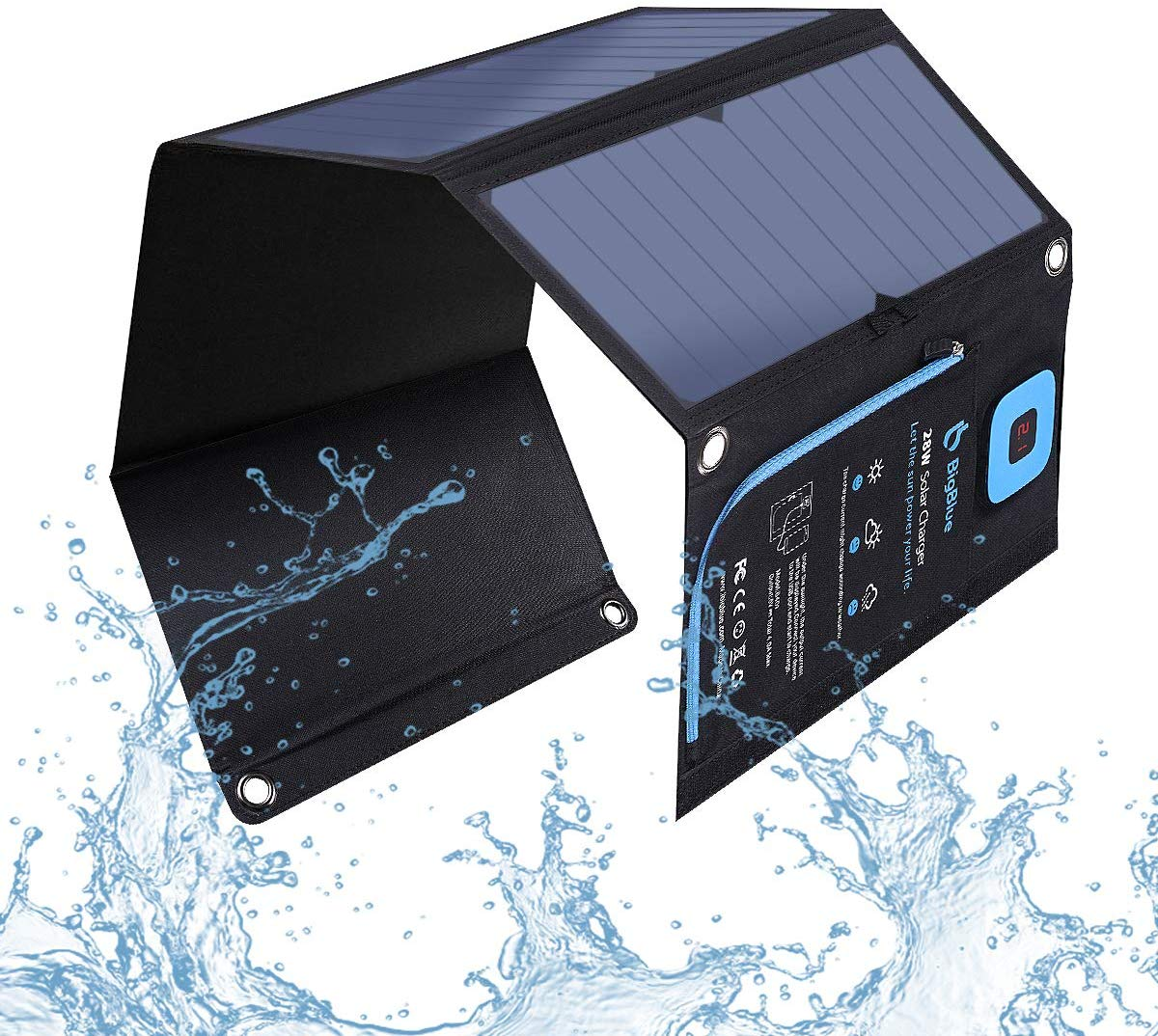 BigBlue 5V 28W Solar Charger with Digital Ammeter, Waterproof Foldable Solar Panels